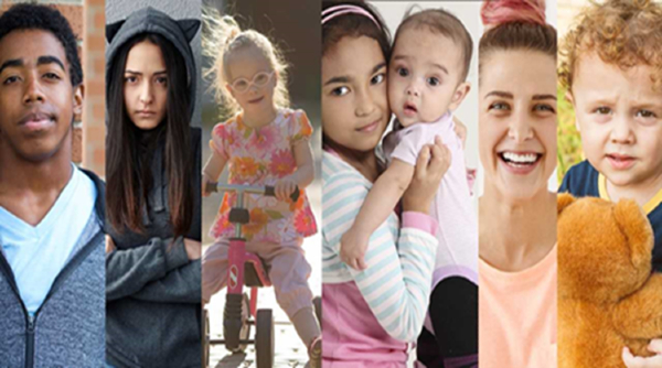 Collage of images of children and families