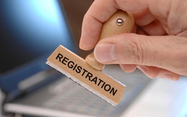 registration printed on rubber stamp