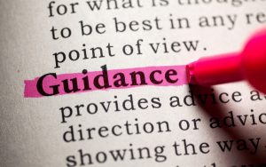 The word 'guidance' in a dictionary
